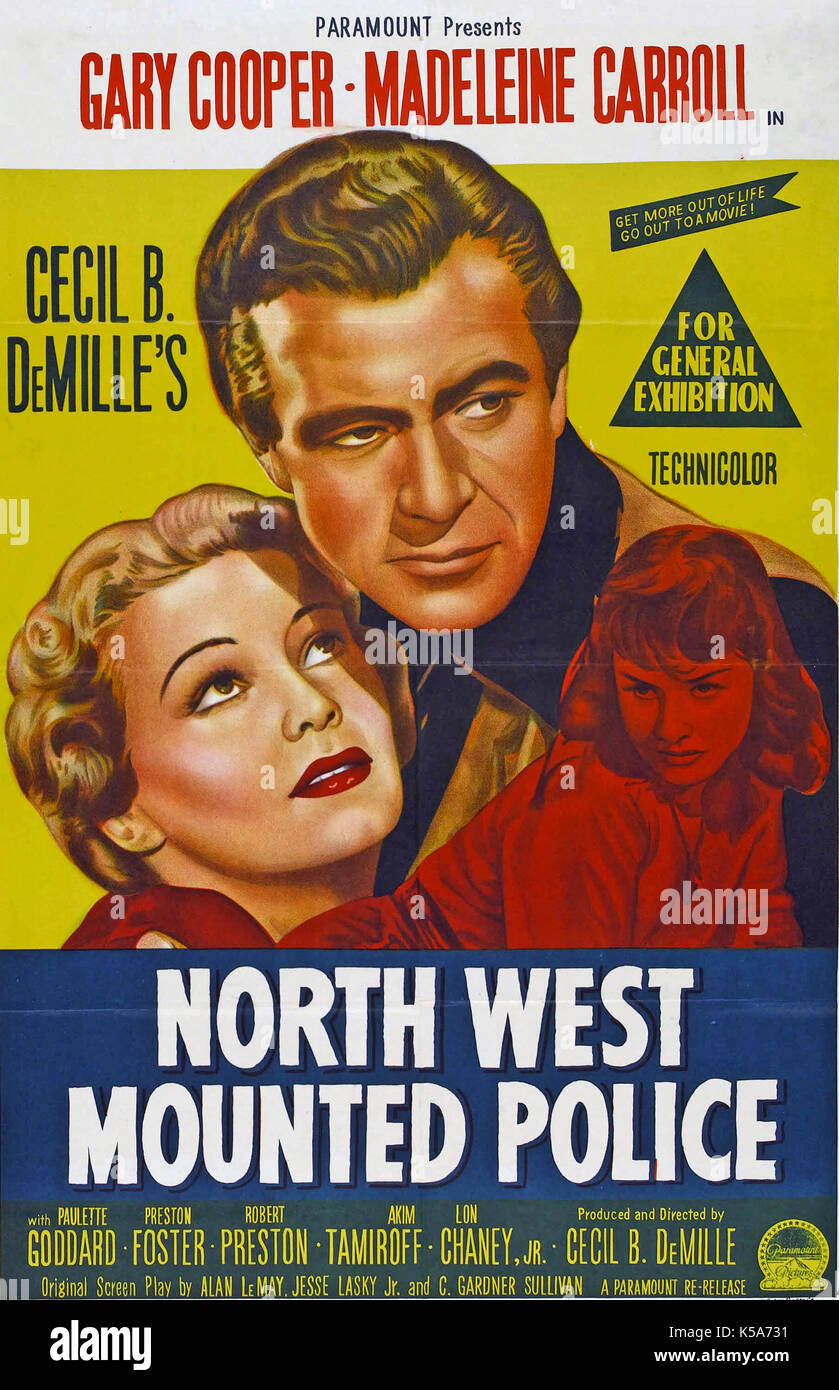 NORTH WEST MOUNTED POLICE 1940 Paramount Pictures film with Gary Cooper  and Madeleine Carroll - Stock Image