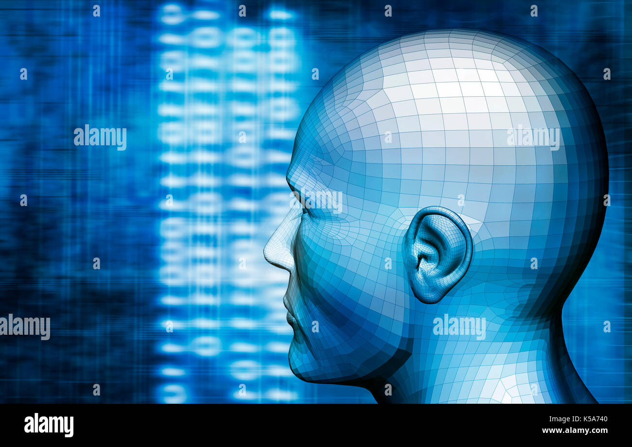 humanoid head and tech background, artificial intelligence concept - Stock Image