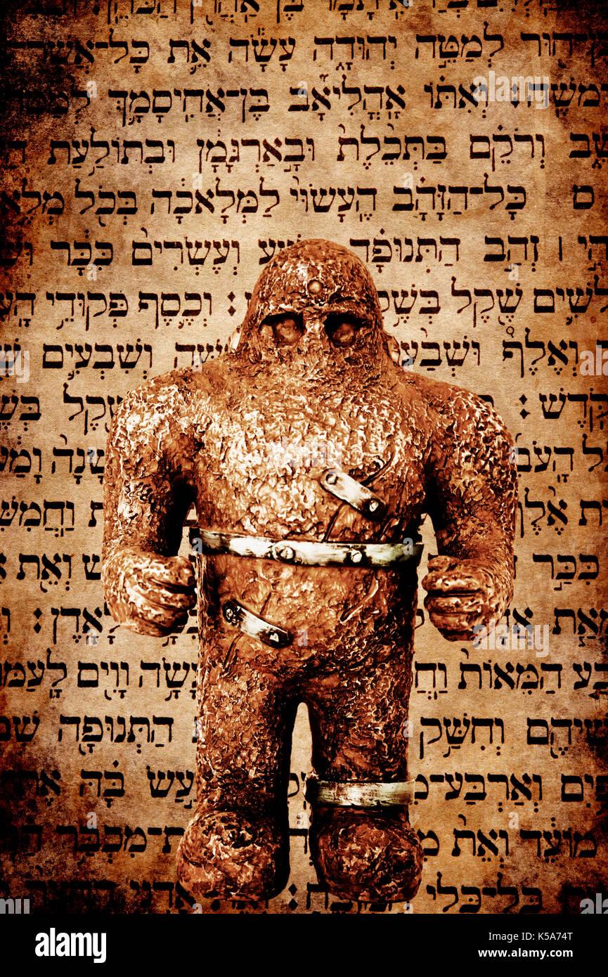 statue of Hebrew mythological figure Golem - Stock Image