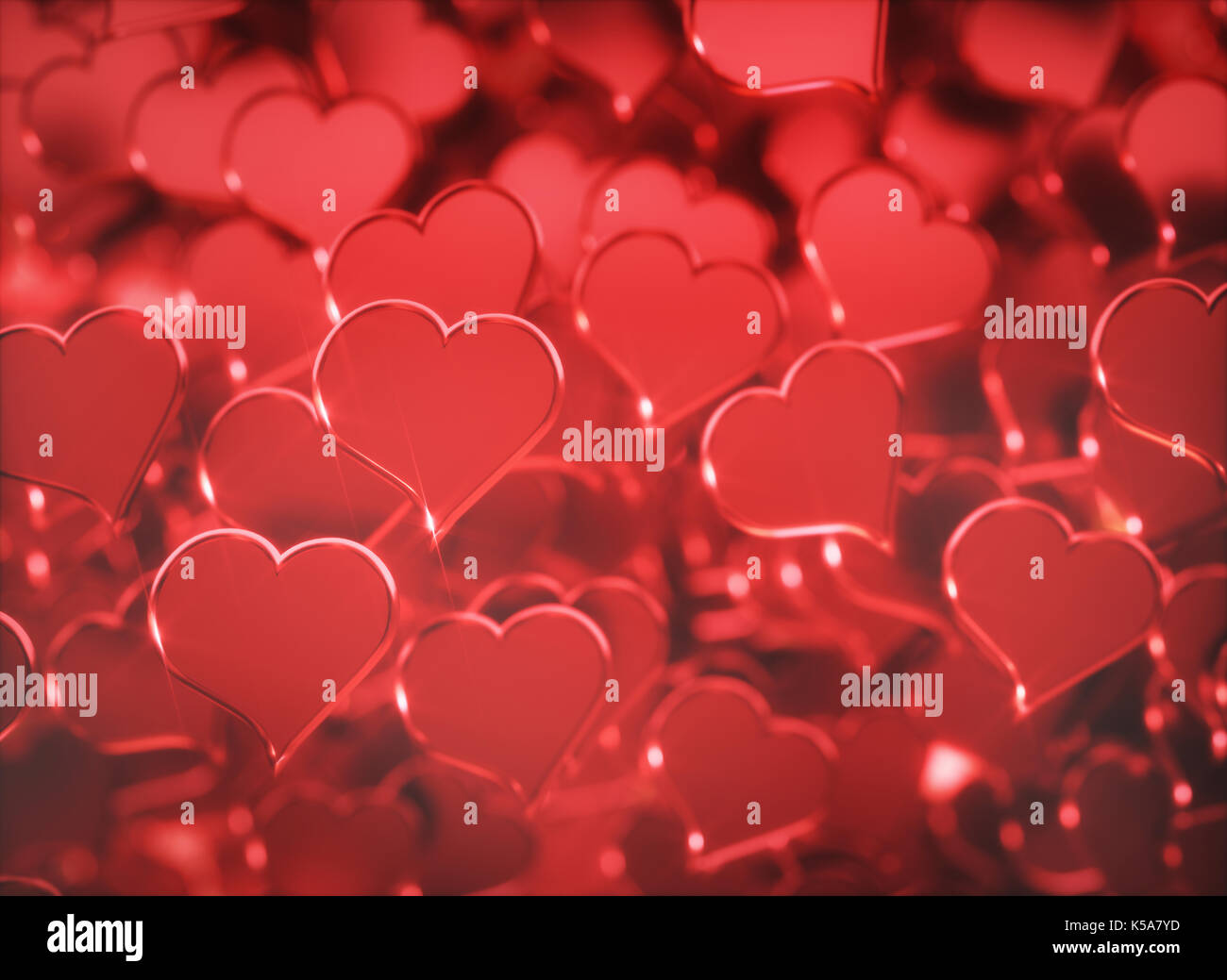 Red hearts, illustration. - Stock Image