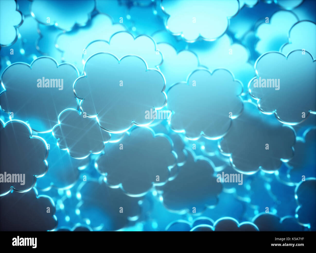 Blue clouds, illustration. - Stock Image