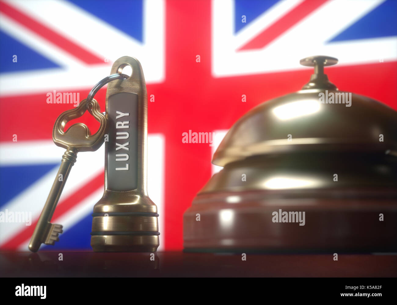 Hotel key and bell with British flag, illustration. - Stock Image
