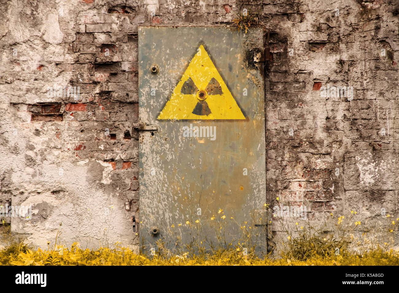 Radioactive Ionizing Radiation Danger Symbol Painted On The Old
