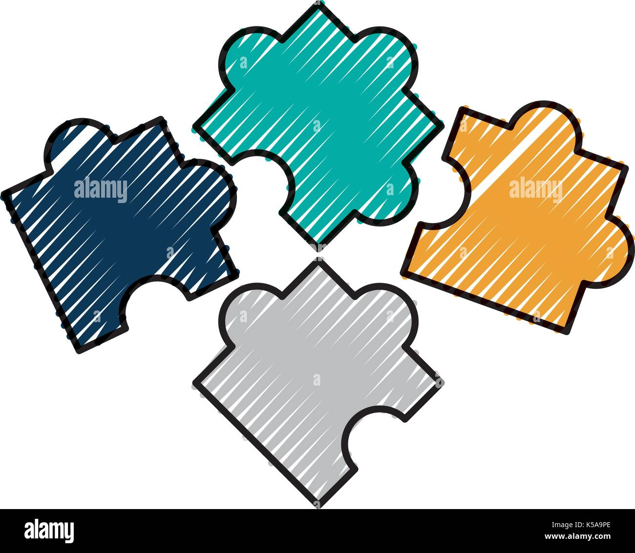 business puzzle piece solution elements - Stock Image