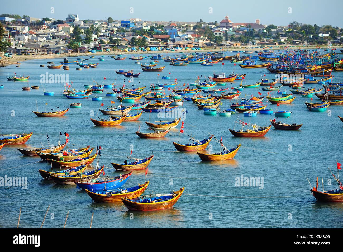 Fishing village harbor scenery in Mui Ne,Vietnam. - Stock Image