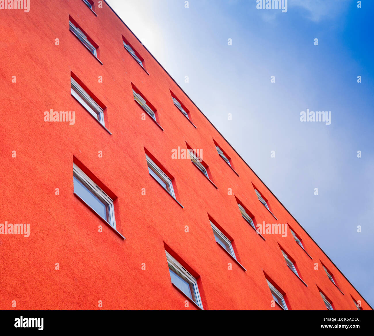 Abstract View of Red Painted Building - Stock Image
