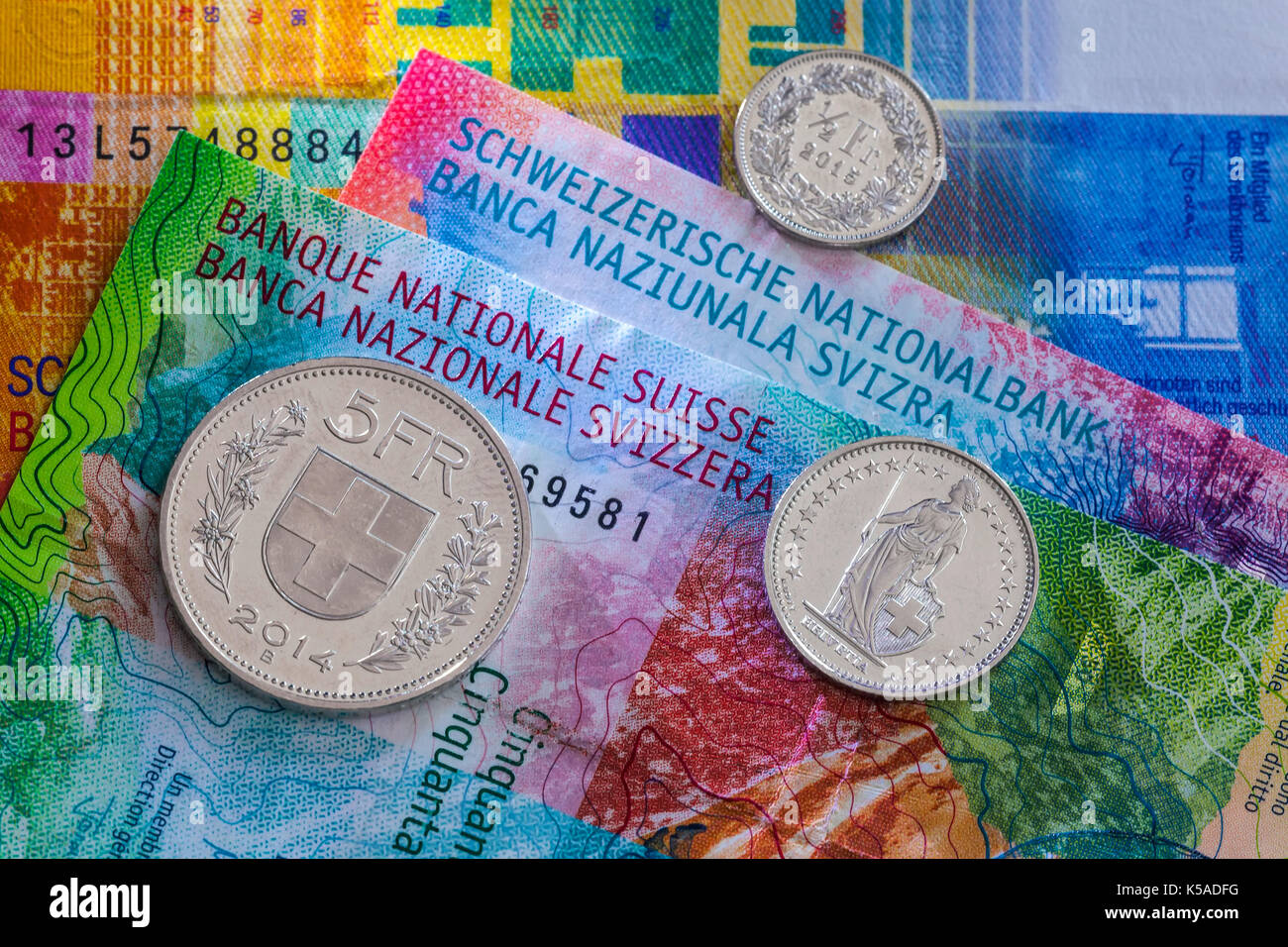 Bern, Switzerland:   Money of Switzerland. New 20- and 50-franc notes, which were introduced in 2017. - Stock Image
