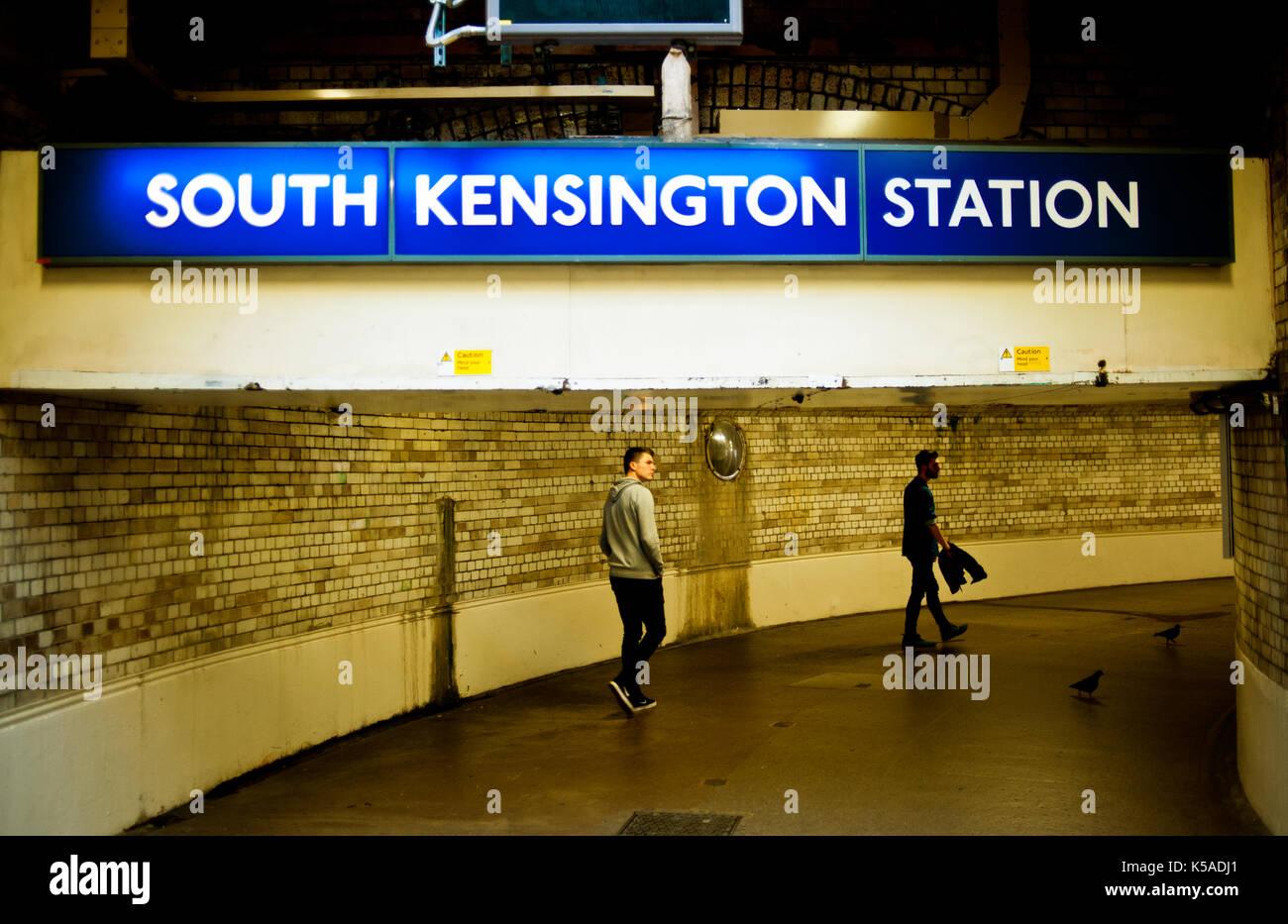 South Kensington underground railway subway, London - Stock Image