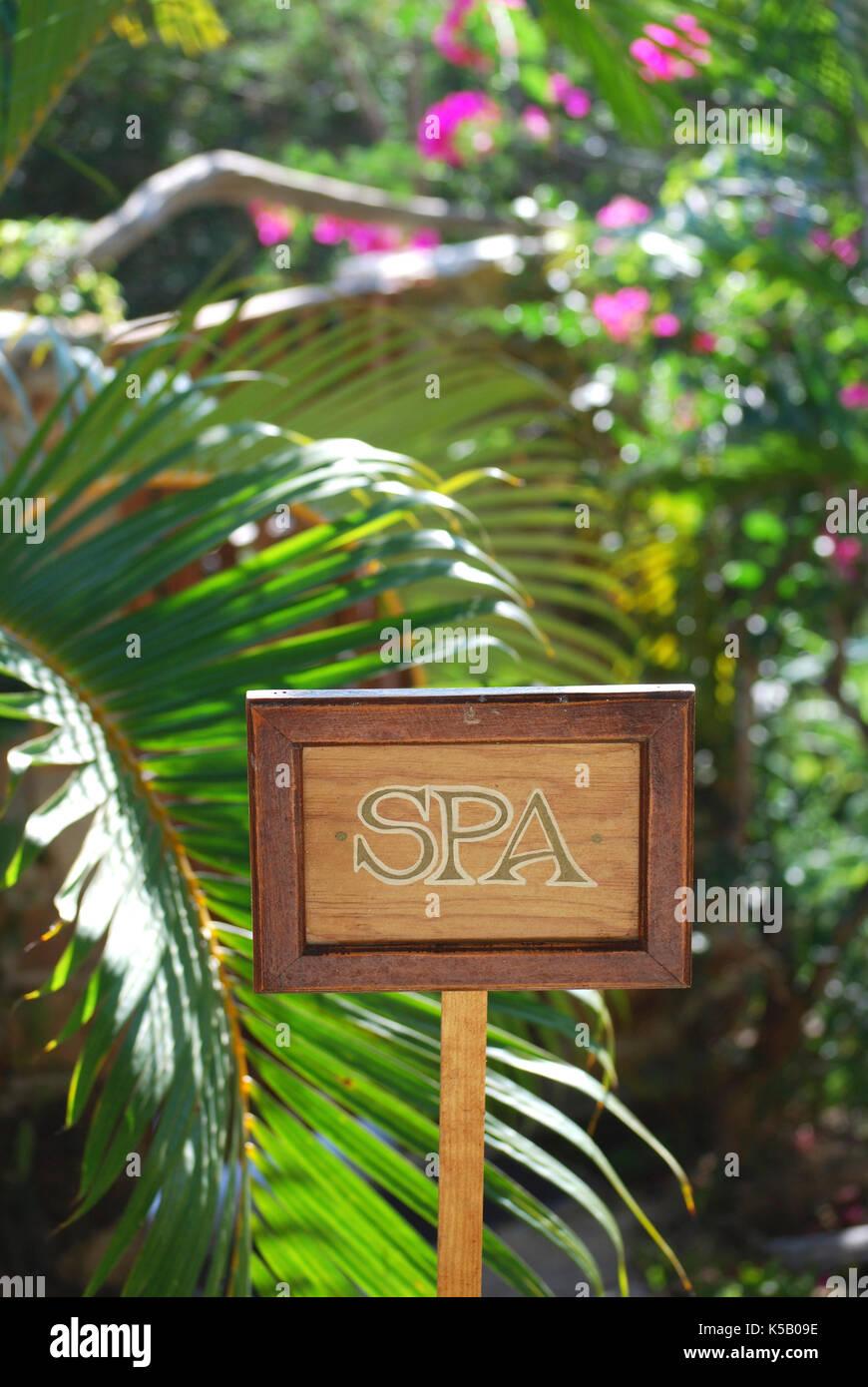 Spa sign, Yelapa, Mexico - Stock Image