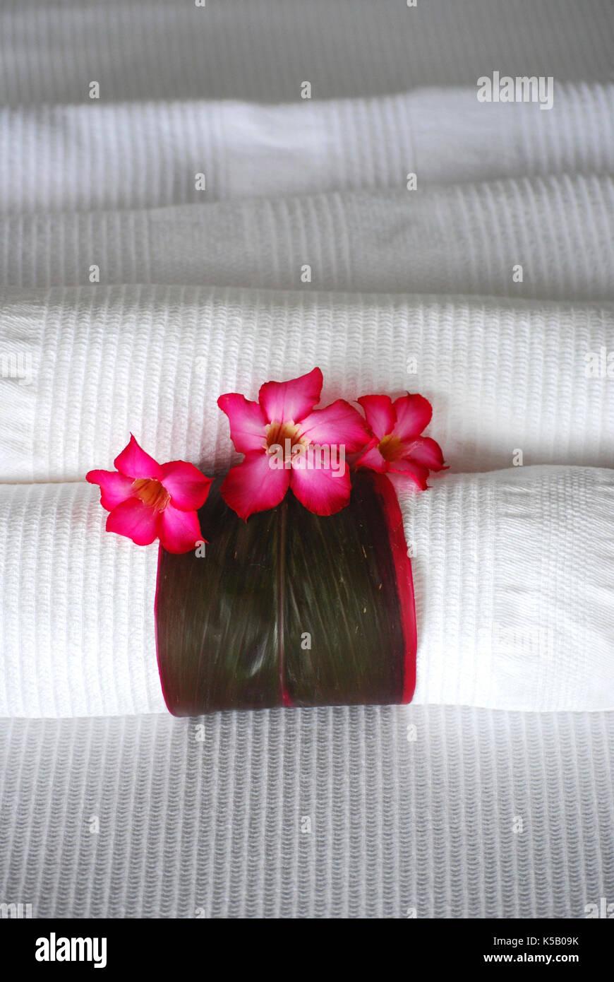 Spa towels - Yelapa, Mexico - Stock Image