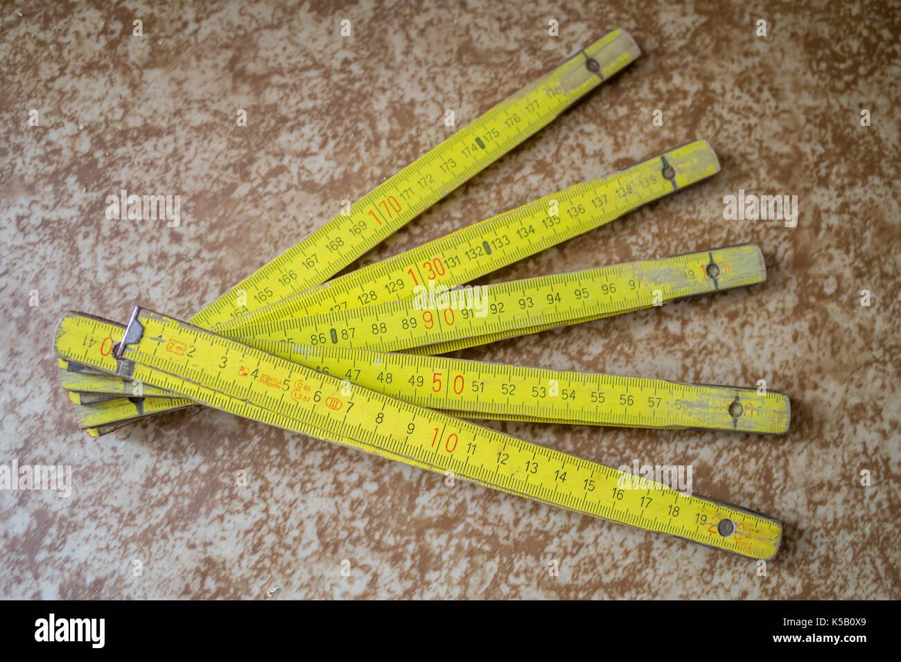 Wooden Folding Ruler - Stock Image