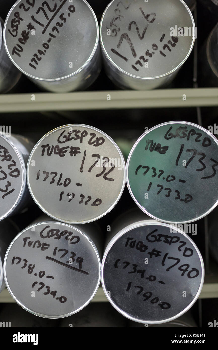 Denver, Colorado - Tubes holding ice cores stored at -36 degrees C (-33 degrees F) at the National Ice Core Laboratory. Stock Photo