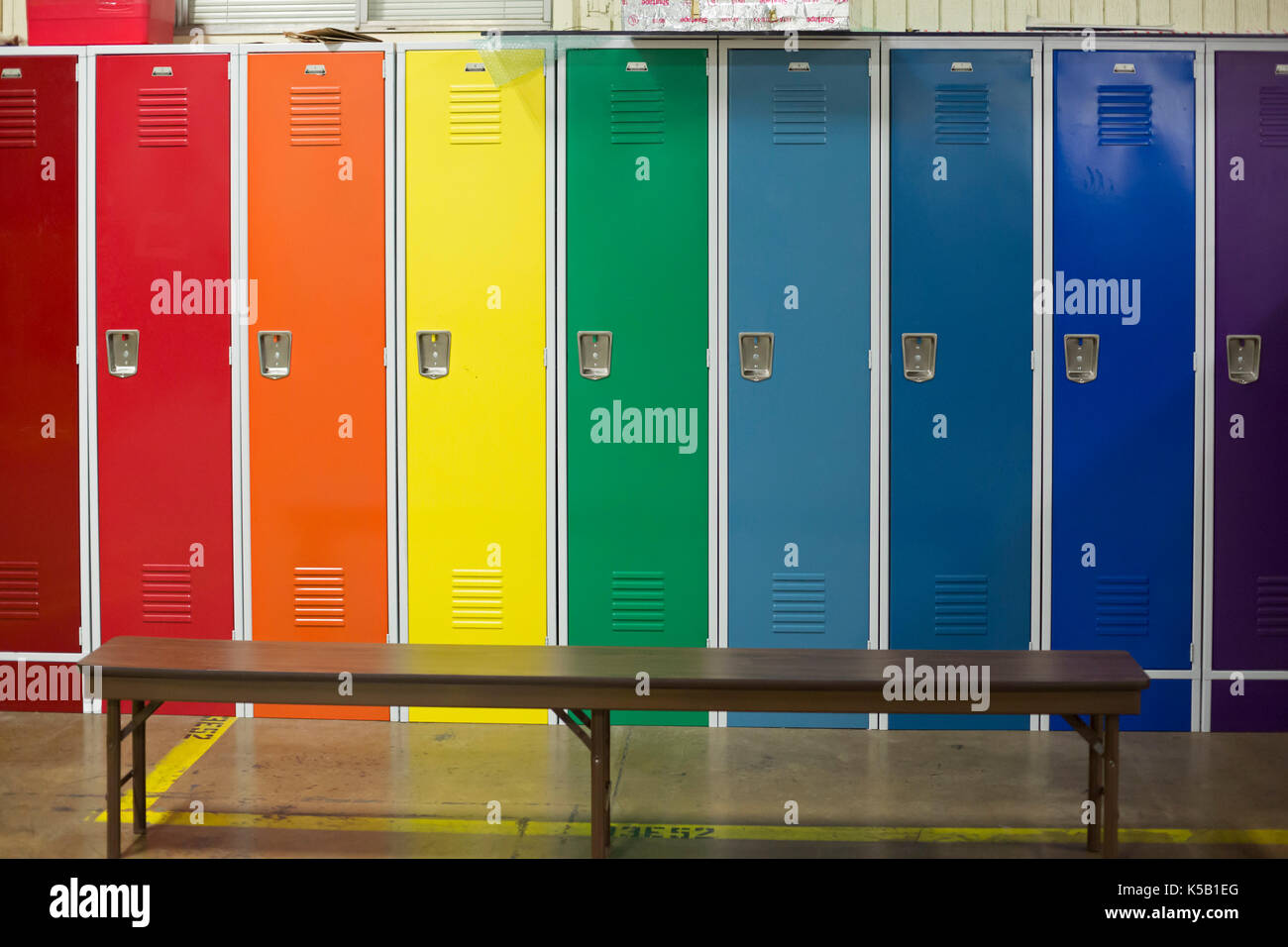Denver, Colorado - Lockers in a rainbow of colors at the National Ice Core Laboratory. The lab stores 19,000 meters of ice cores from Antarctica, Gree - Stock Image