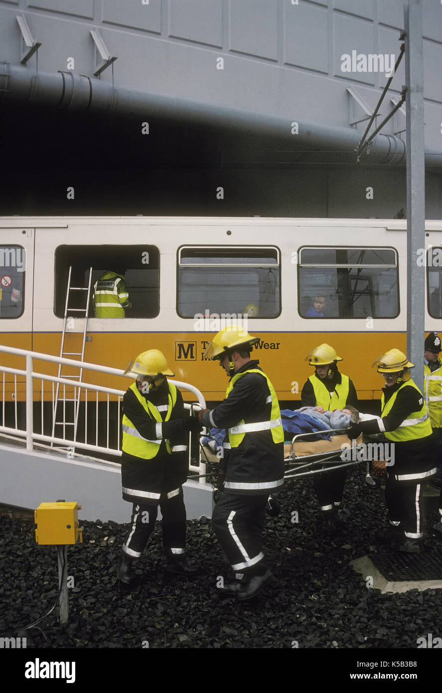 Emergency service at an exercise on the Tyne and Wear Metro system - Stock Image