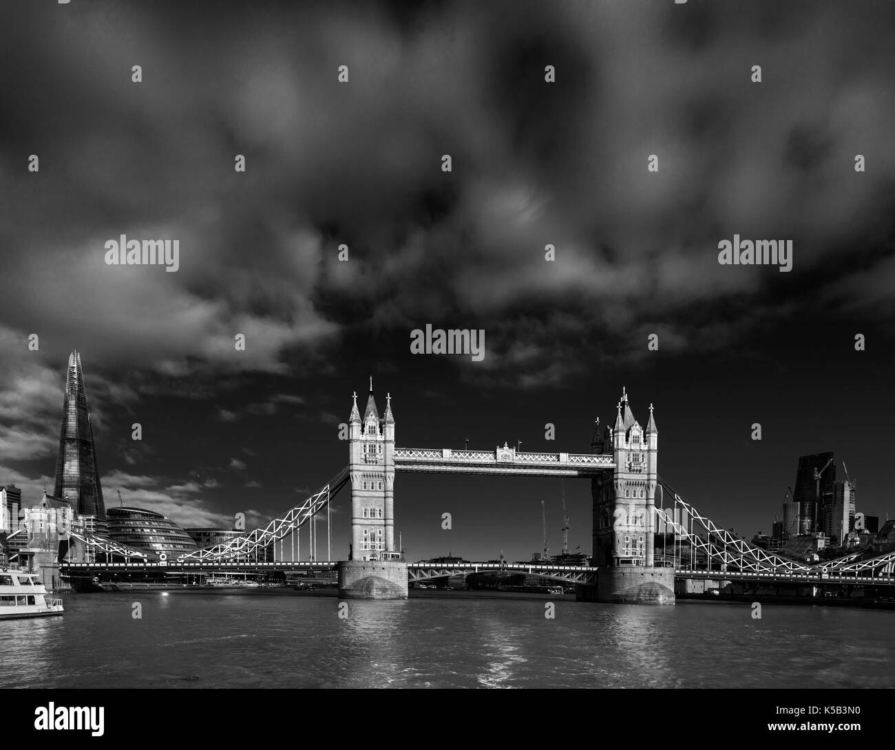 Famous Tower Bridge on the river Thames is iconic symbol of London. - Stock Image