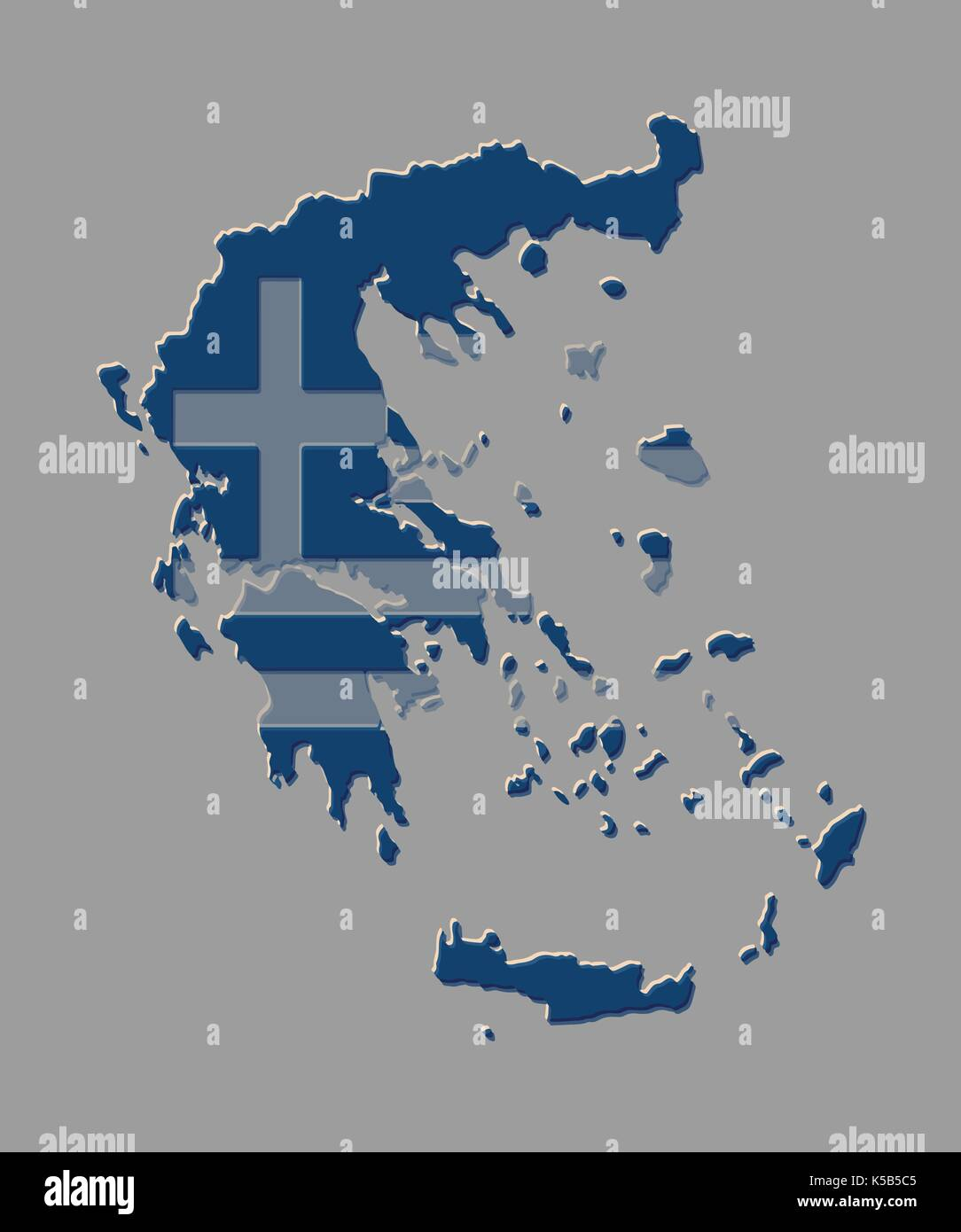 Greece map vector illustration with the greek flag Stock Vector Art ...