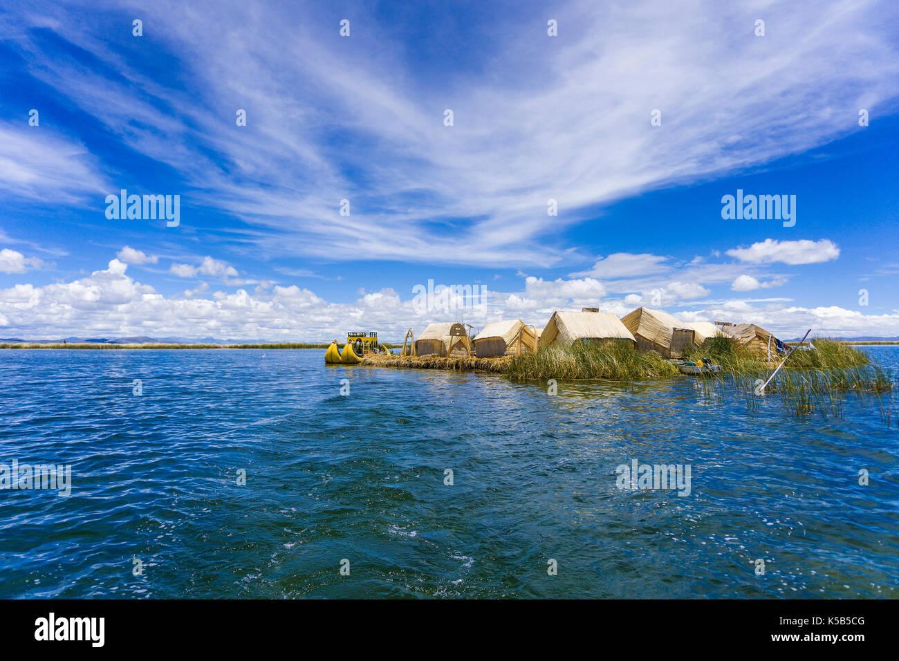 Totora boat on the Titicaca lake near Puno, Peru Stock Photo