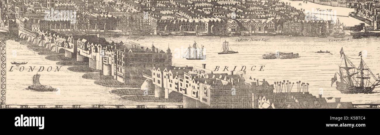 Drawing of London Bridge from a 1682 panorama - Stock Image