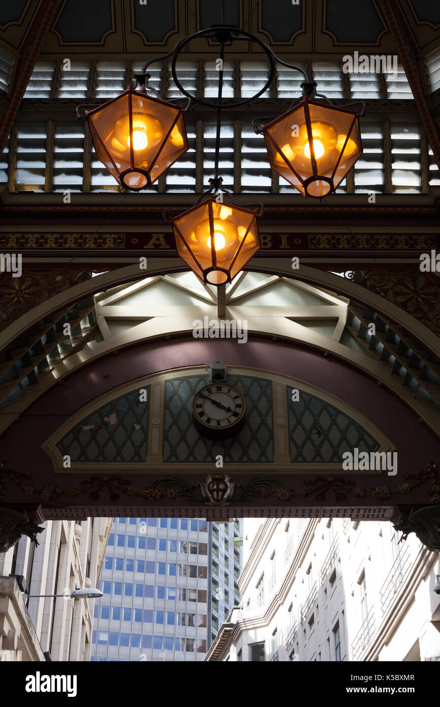 Lights in Leadenhall Market, London, England - Stock Image