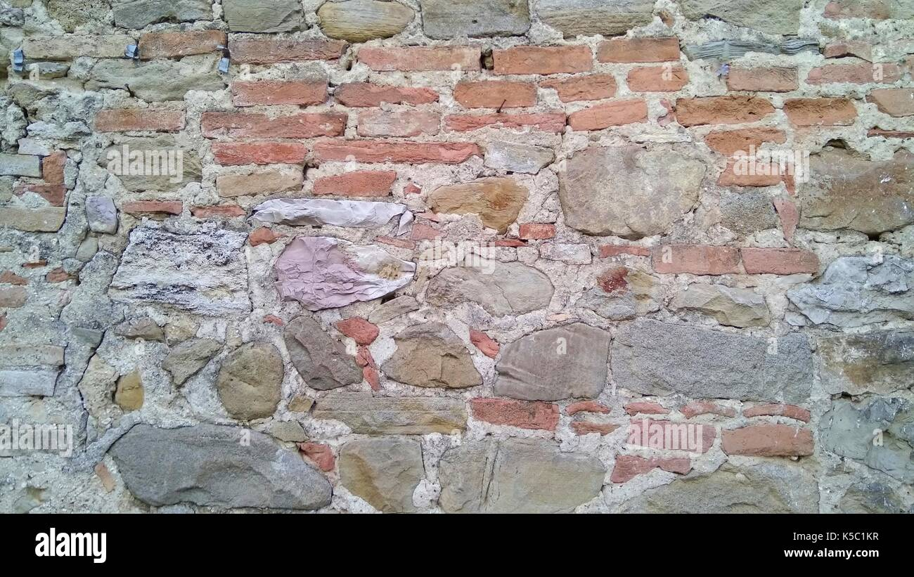 stone and brick wall - Stock Image