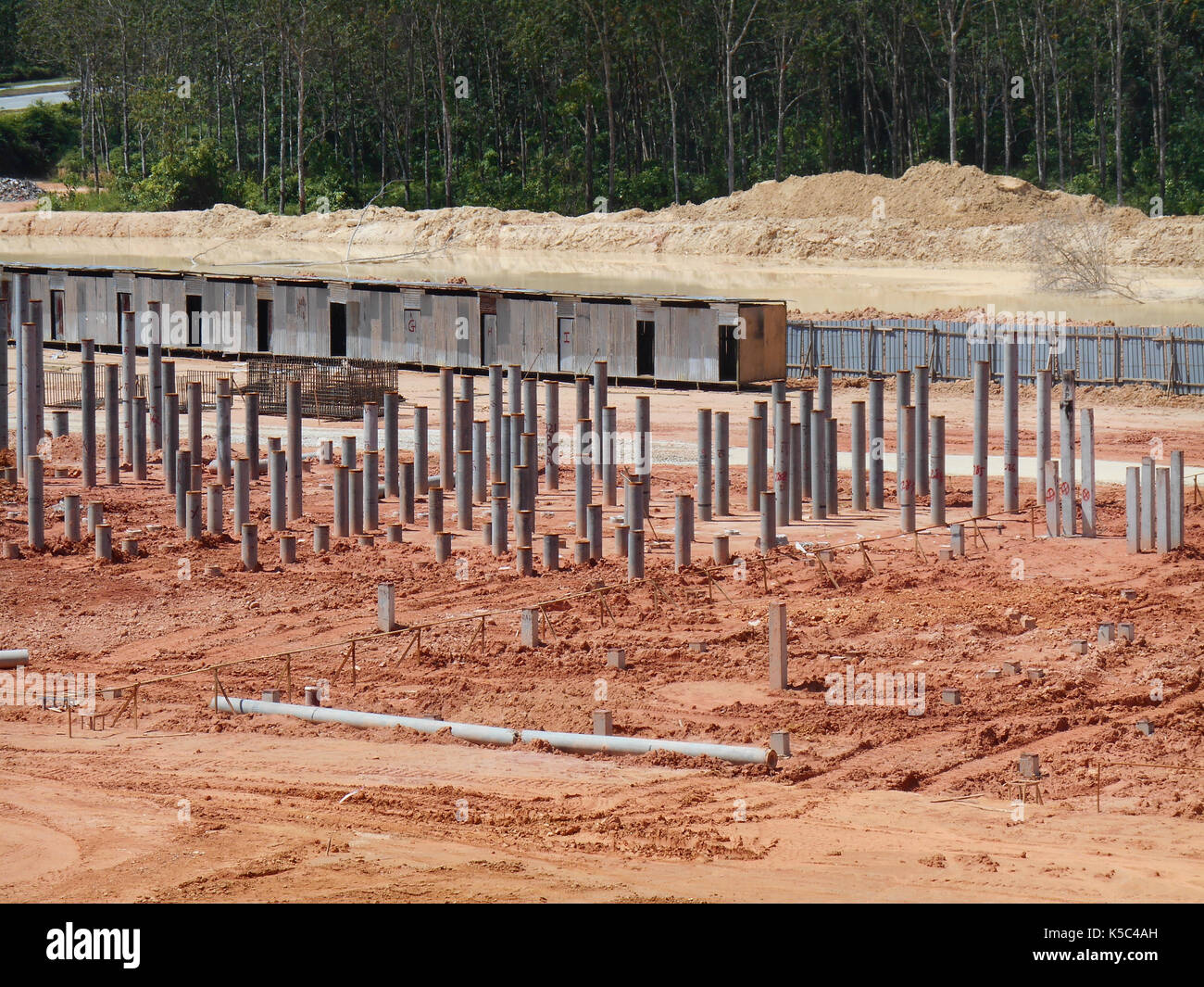 Construction site with piling work is in progress. Piling work is the most popular for the building foundation work. - Stock Image