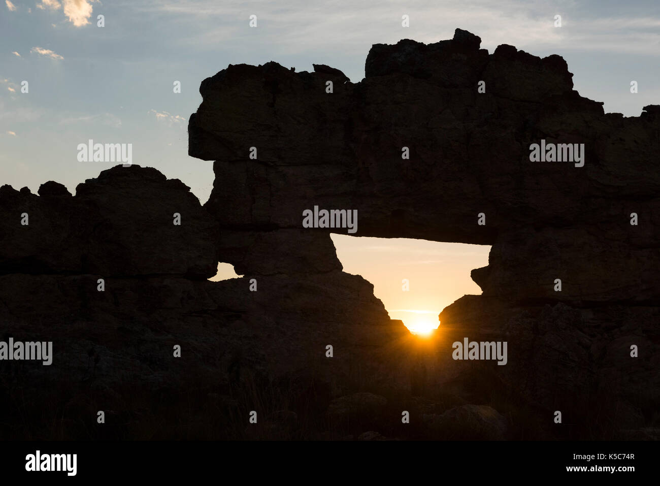 La Fenêtre de l'Isalo or Isalo windo, at sunset, Isalo National Park, Madagascar Stock Photo
