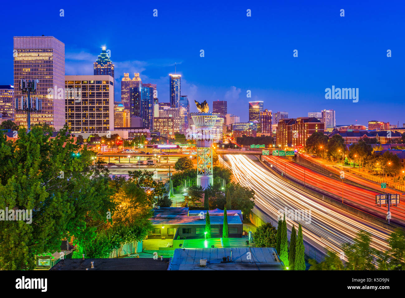 Atlanta, Georgia, USA downtown cityscape at night. - Stock Image