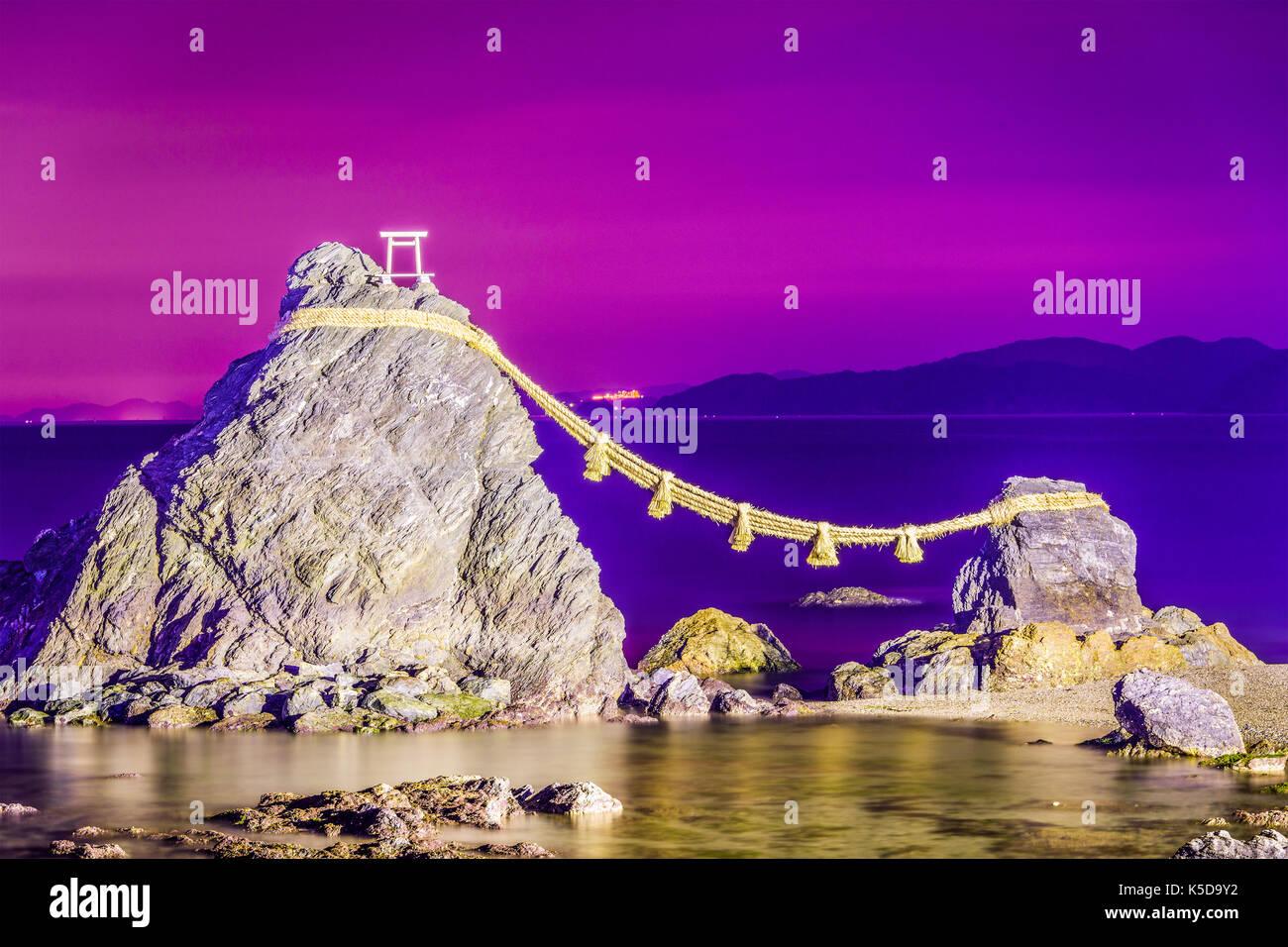 Meoto Iwa Rock of Ise, Japan. - Stock Image