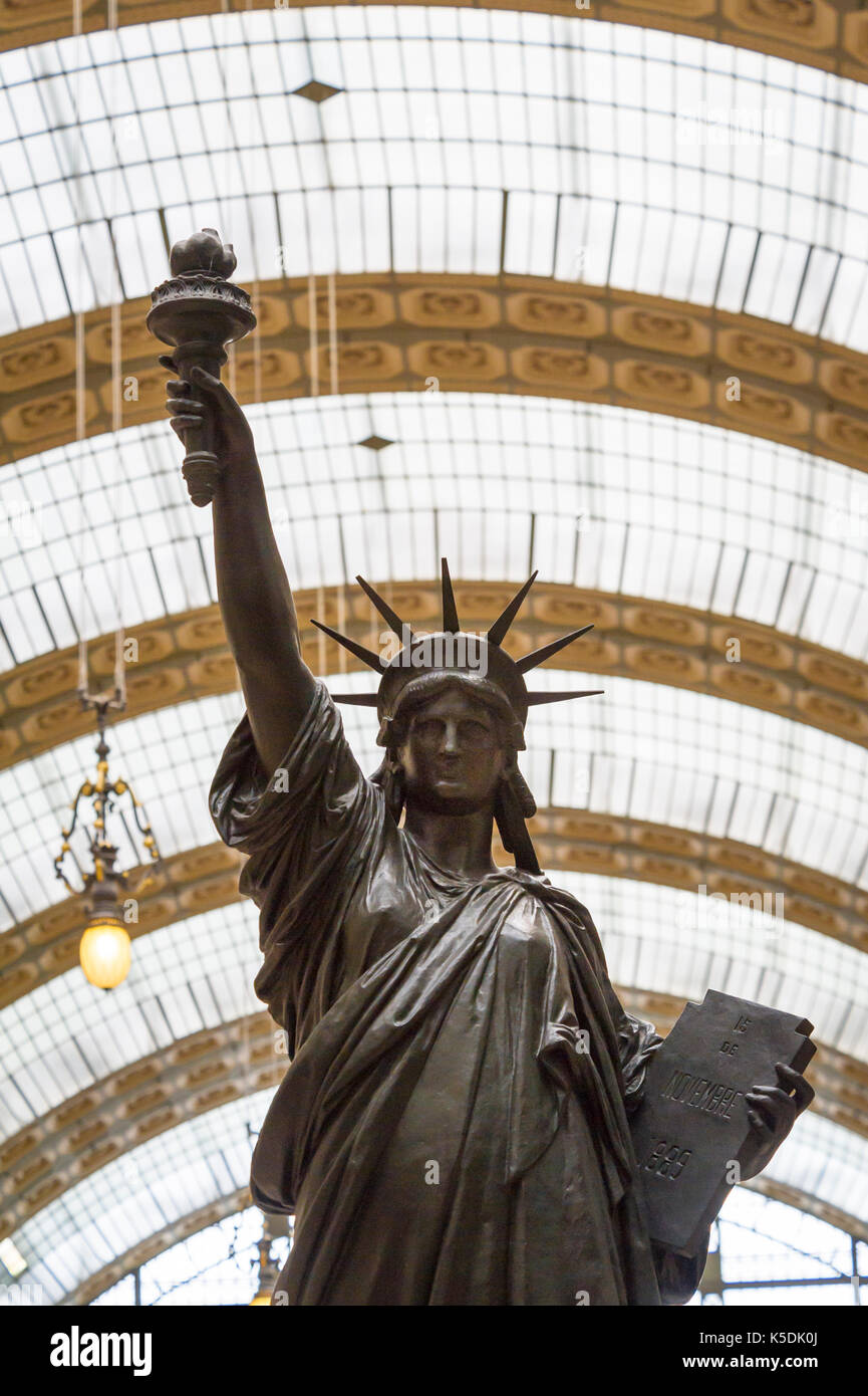 Statue of Liberty by French sculptor Auguste Bartholdi exhibited in Musee D'Orsay - Stock Image