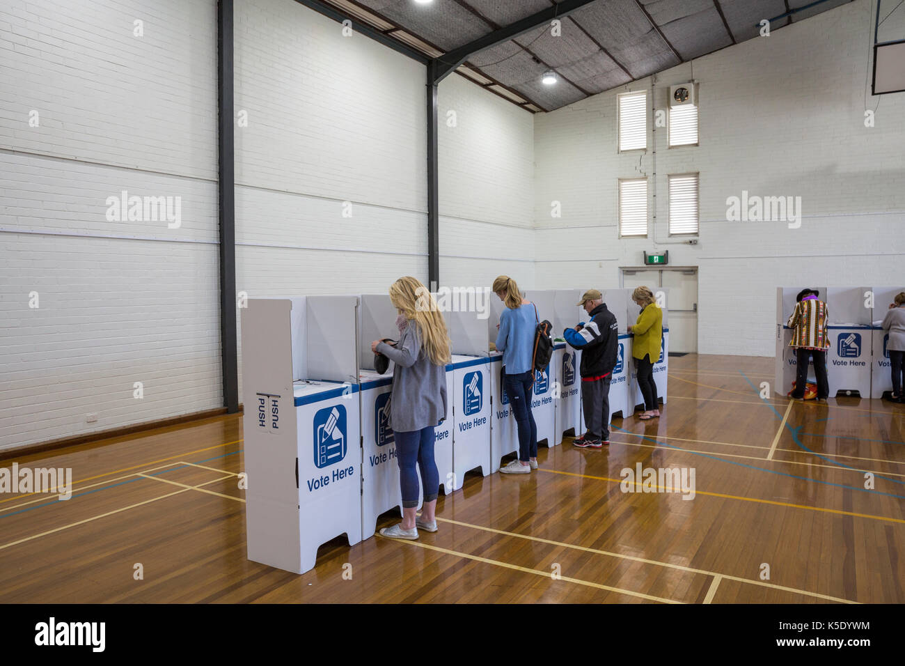 People voting in elections in Australia inside a polling station in Sydney,Australia - Stock Image