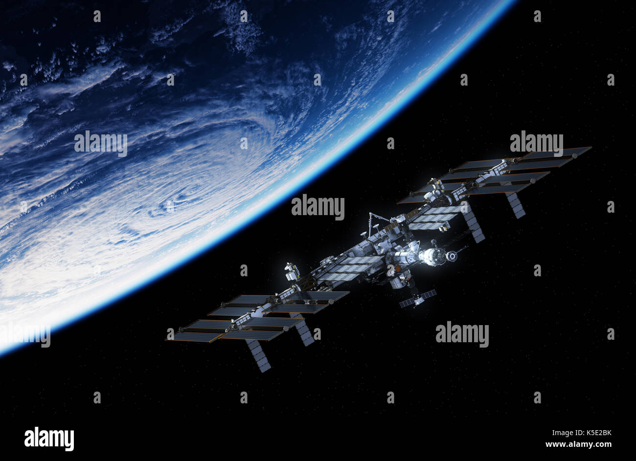 International Space Station Orbiting Planet Earth. 3D Illustration. - Stock Image