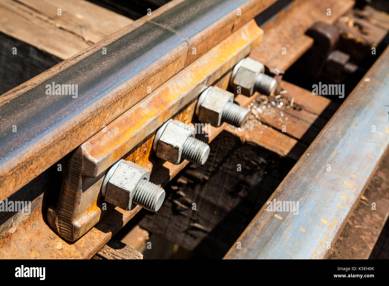 Death railway line built with wood. Tham Kra Sae  Kanchanaburi‎ Thailand. - Stock Image