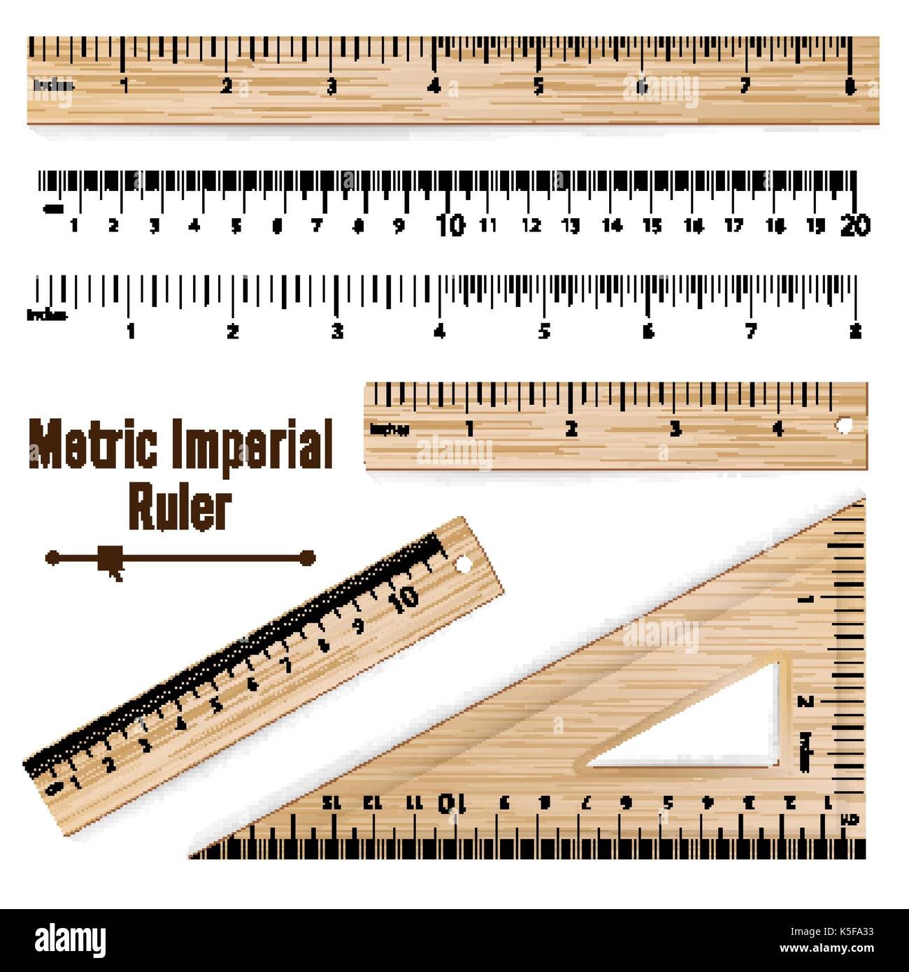 Wooden Metric Imperial Rulers Vector. Centimeter And Inch. Measure Tools Equipment Illustration Isolated On White Background. - Stock Vector
