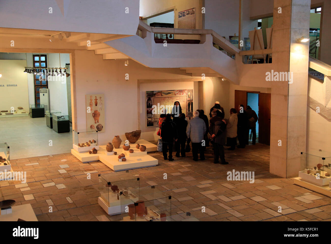 Exhibition of prehistoric Thracian pottery finds in Kazanlak museum, Bulgaria, eastern Europe - Stock Image