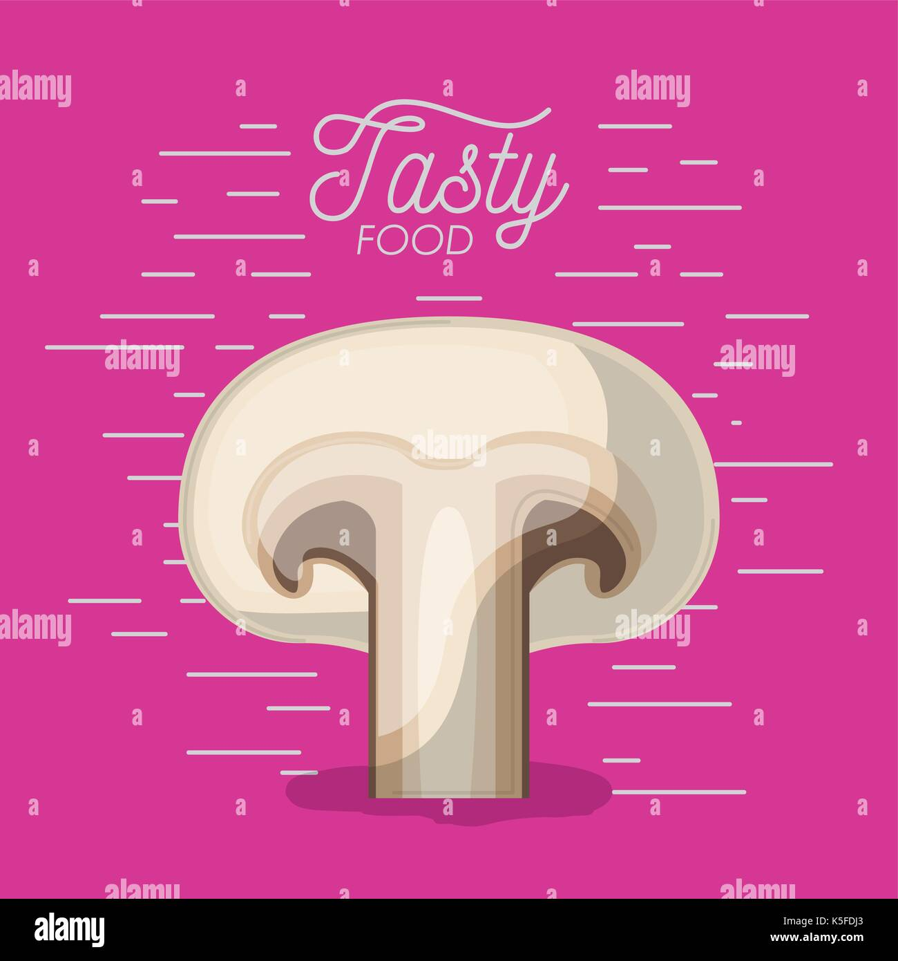 mushroom tasty food poster in magenta background - Stock Image