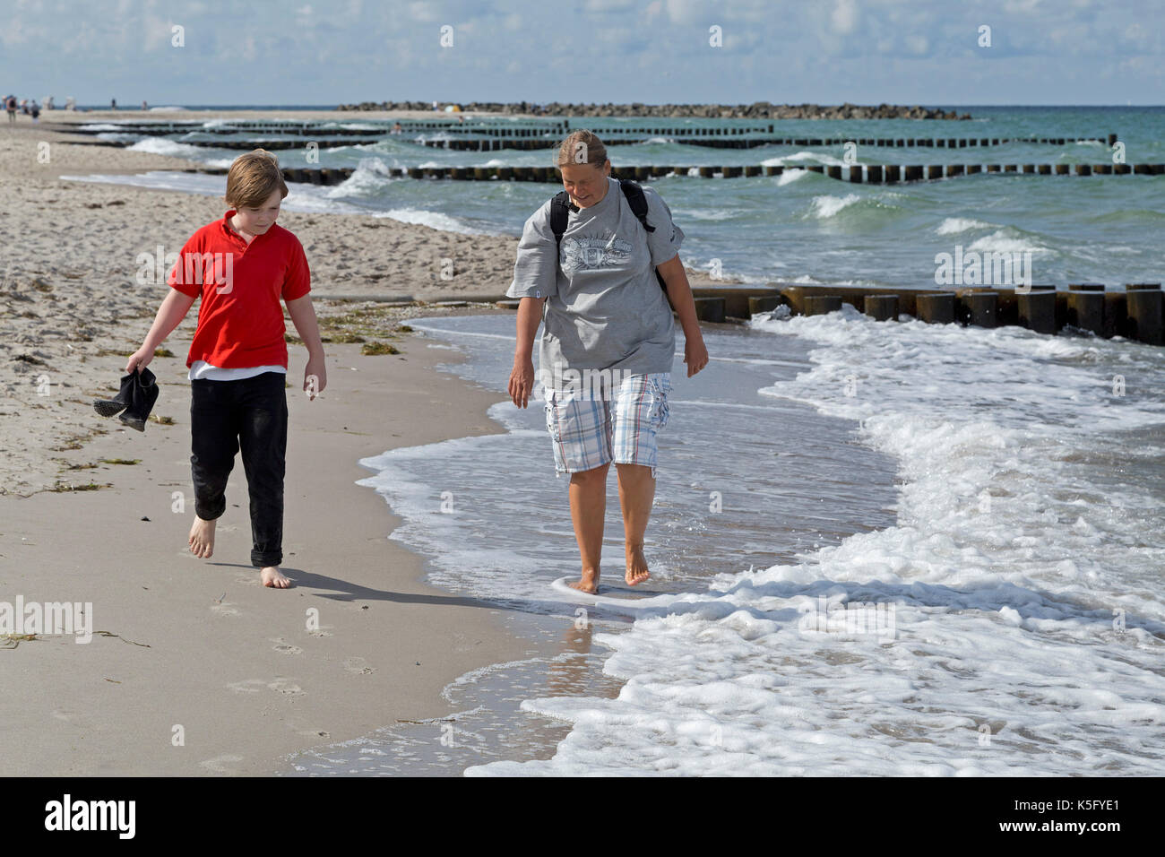 mother and son at the beach, Ahrenshoop, Fischland, Mecklenburg-West Pomerania, Germany - Stock Image