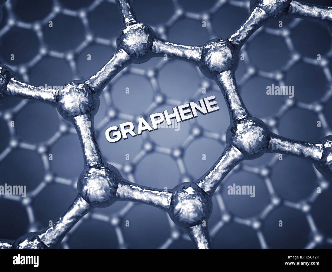 Graphene is composed of carbon atoms distributed in hexagonal pattern , Nanotechnology - Stock Image