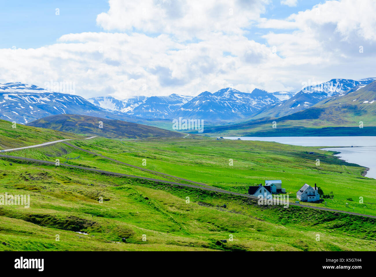 View of countryside and the Miklavatn Lake, in Northern Iceland - Stock Image