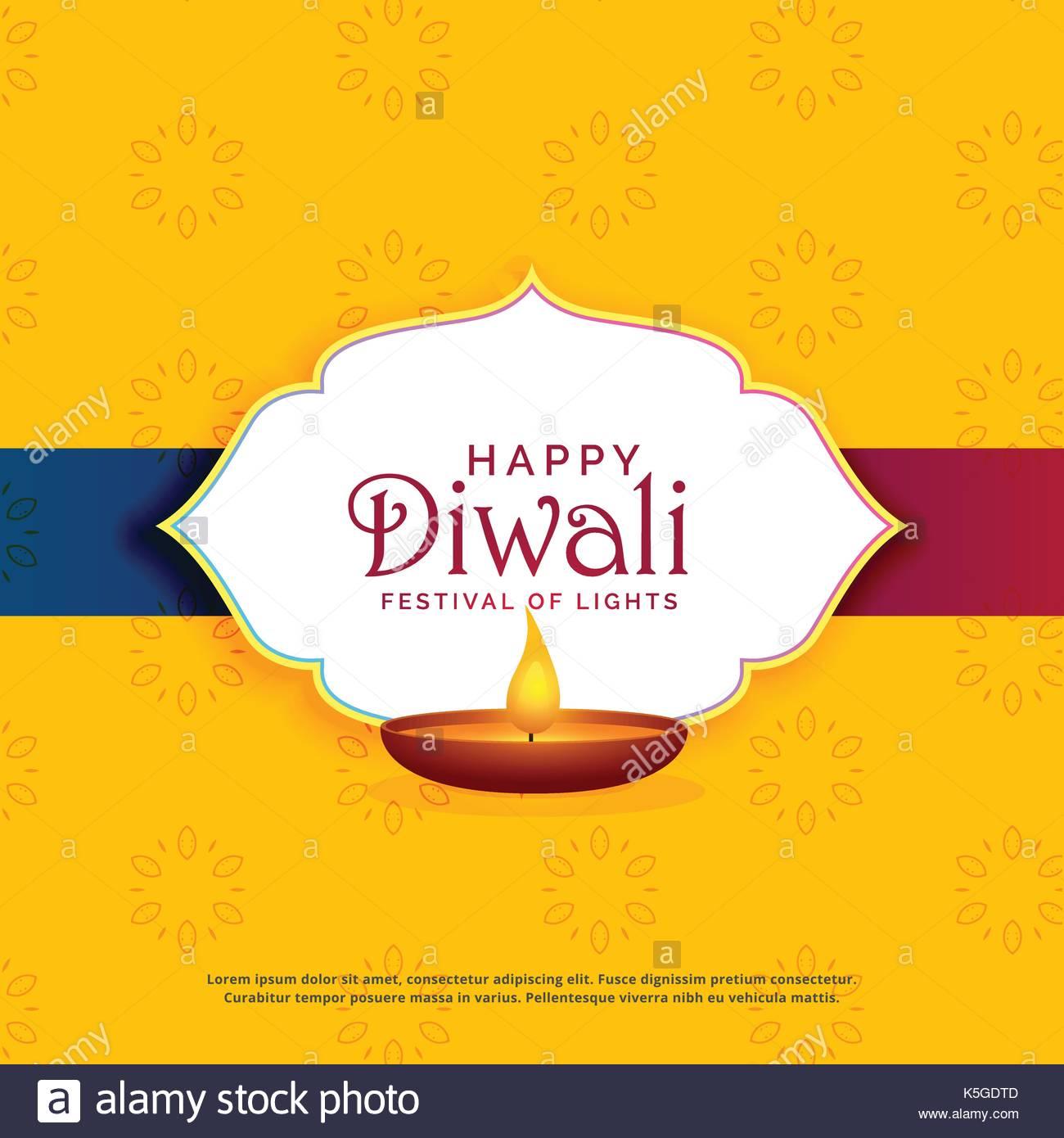 Yellow happy diwali greeting card design with diya stock vector art yellow happy diwali greeting card design with diya m4hsunfo