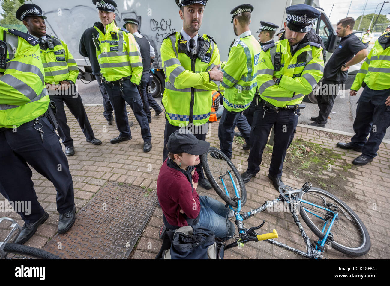 London, UK. 9th Sept, 2017. Anti-war protests continue against DSEi Arms Fair (Defence & Security Equipment International) Stock Photo