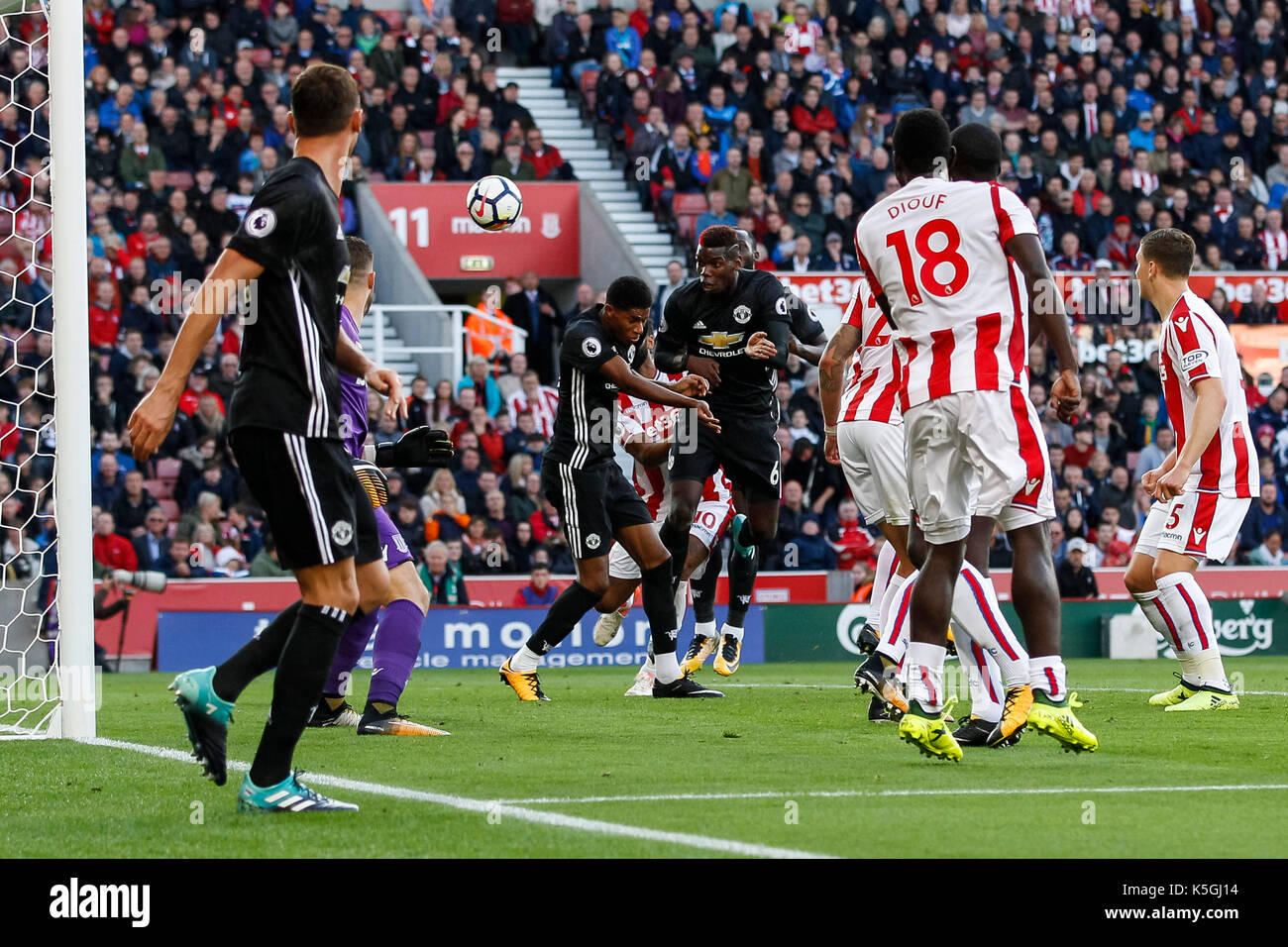 Stoke-on-Trent, UK. 09th Sep, 2017. Paul Pogba of Manchester United scores his side's first goal to equalise and make the score 1-1 during the Premier League match between Stoke City and Manchester United at Bet365 Stadium on September 9th 2017 in Stoke-on-Trent, England. Credit: PHC Images/Alamy Live News - Stock Image