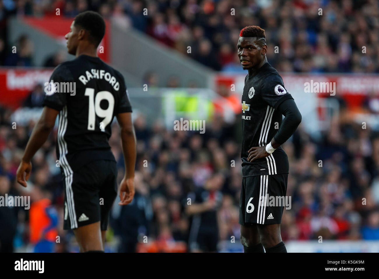 Stoke-on-Trent, UK 09th Sep, 2017 Paul Pogba of Manchester United looks dejected during the Premier League match between Stoke City and Manchester United at Bet365 Stadium on September 9th 2017 in Stoke-on-Trent, England. (Photo by Daniel Chesterton/phcimages.com) Credit: PHC Images/Alamy Live News - Stock Image