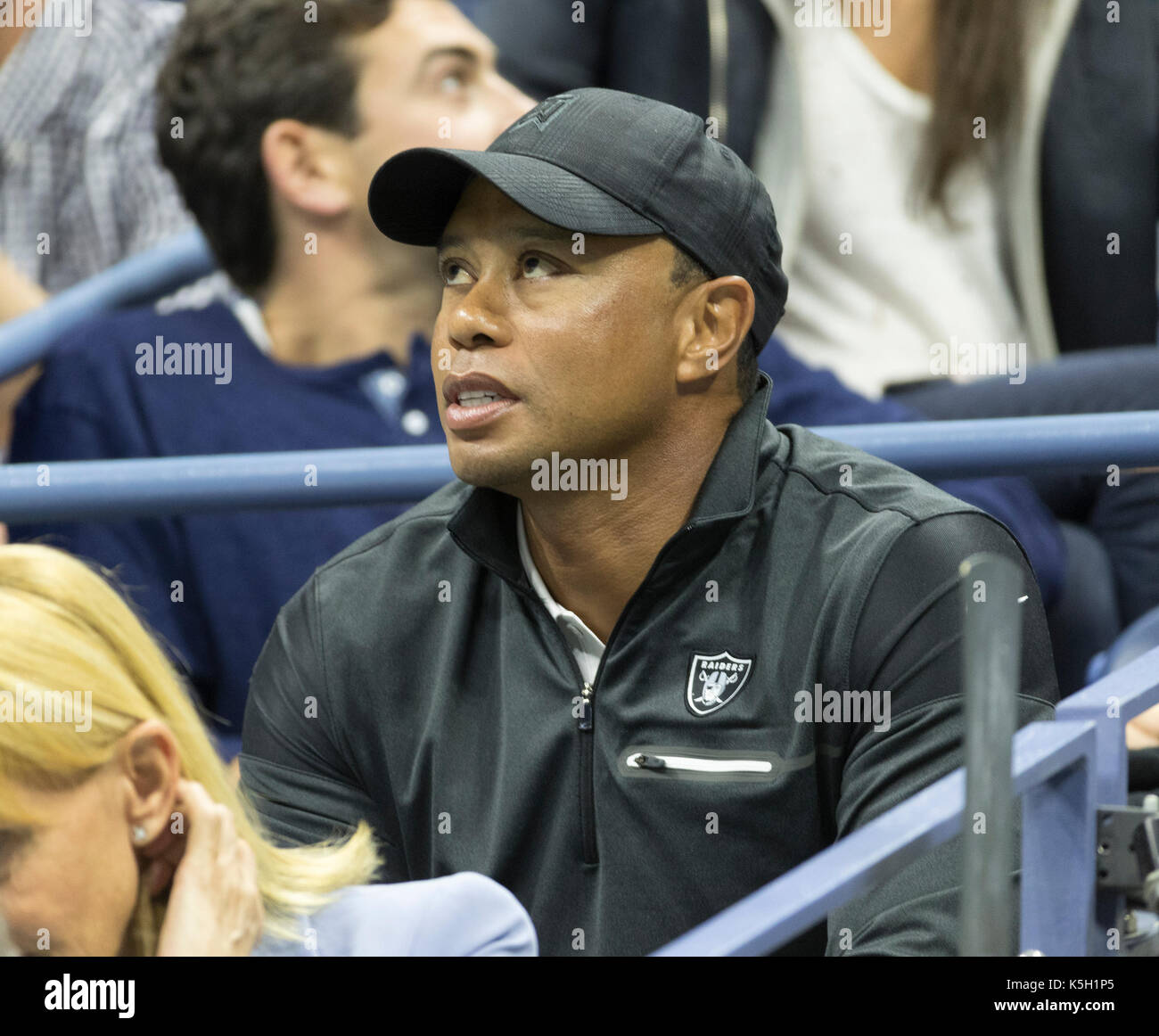 New York, United States. 08th Sep, 2017. Tiger Woods attends day 12 of US Open Championships at Billie Jean King National Tennis Center Credit: Lev Radin/Pacific Press/Alamy Live News - Stock Image