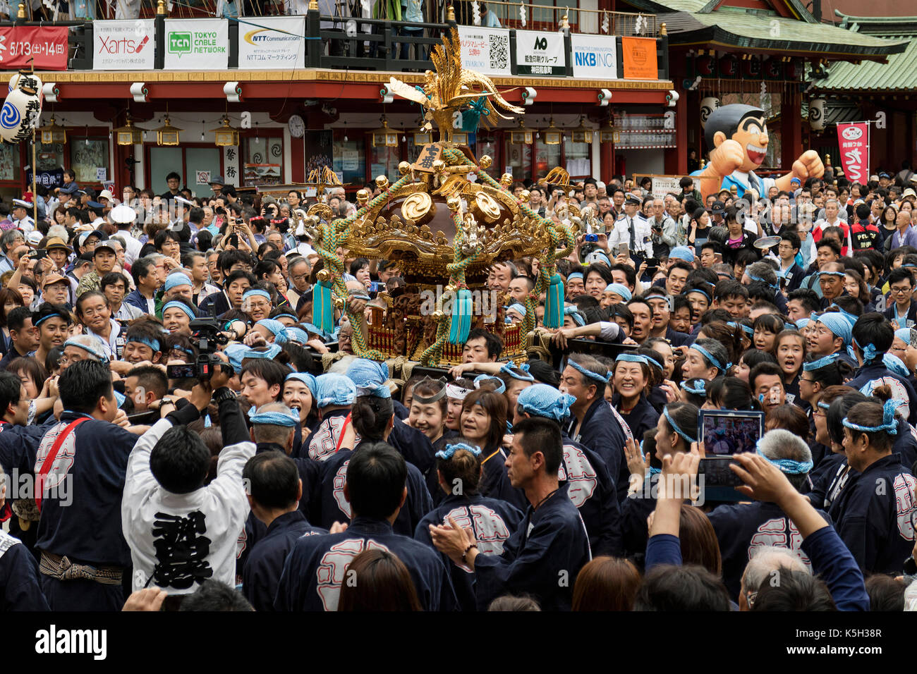Tokyo, Japan - May 14, 2017: Kanda Matsuri Festival, a parade of portable shrines named mikoshi - Stock Image