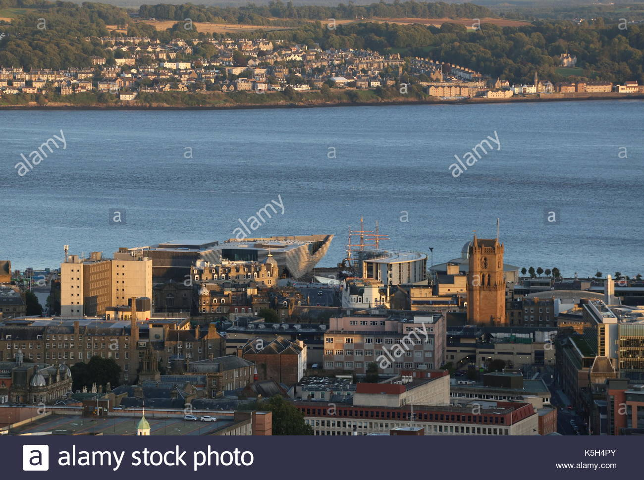 Elevated view of Discovery Point at dusk from Dundee Law Scotland  September 2017 - Stock Image