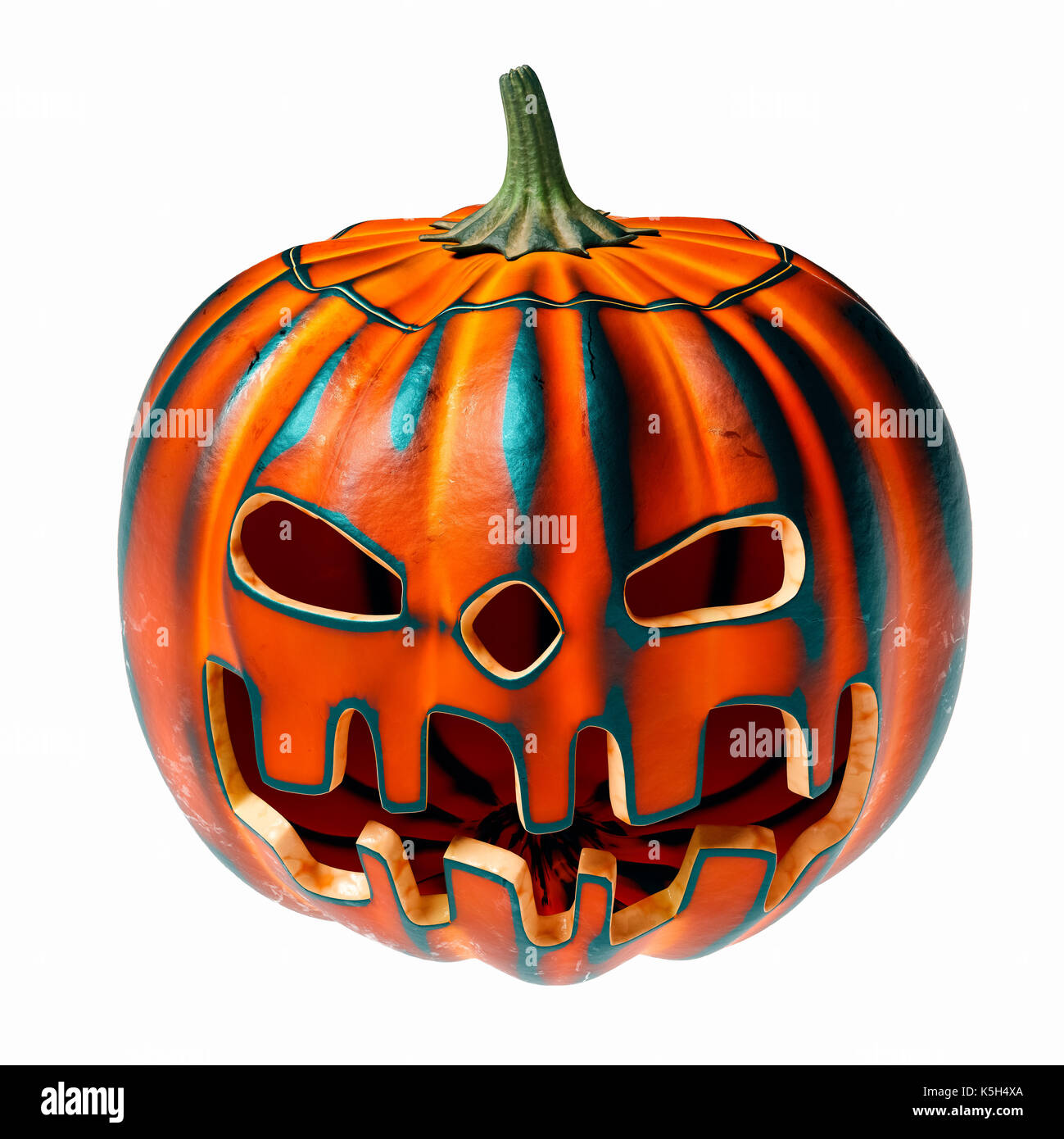 Burnt carved halloween pumpkin, scary face grin - Stock Image