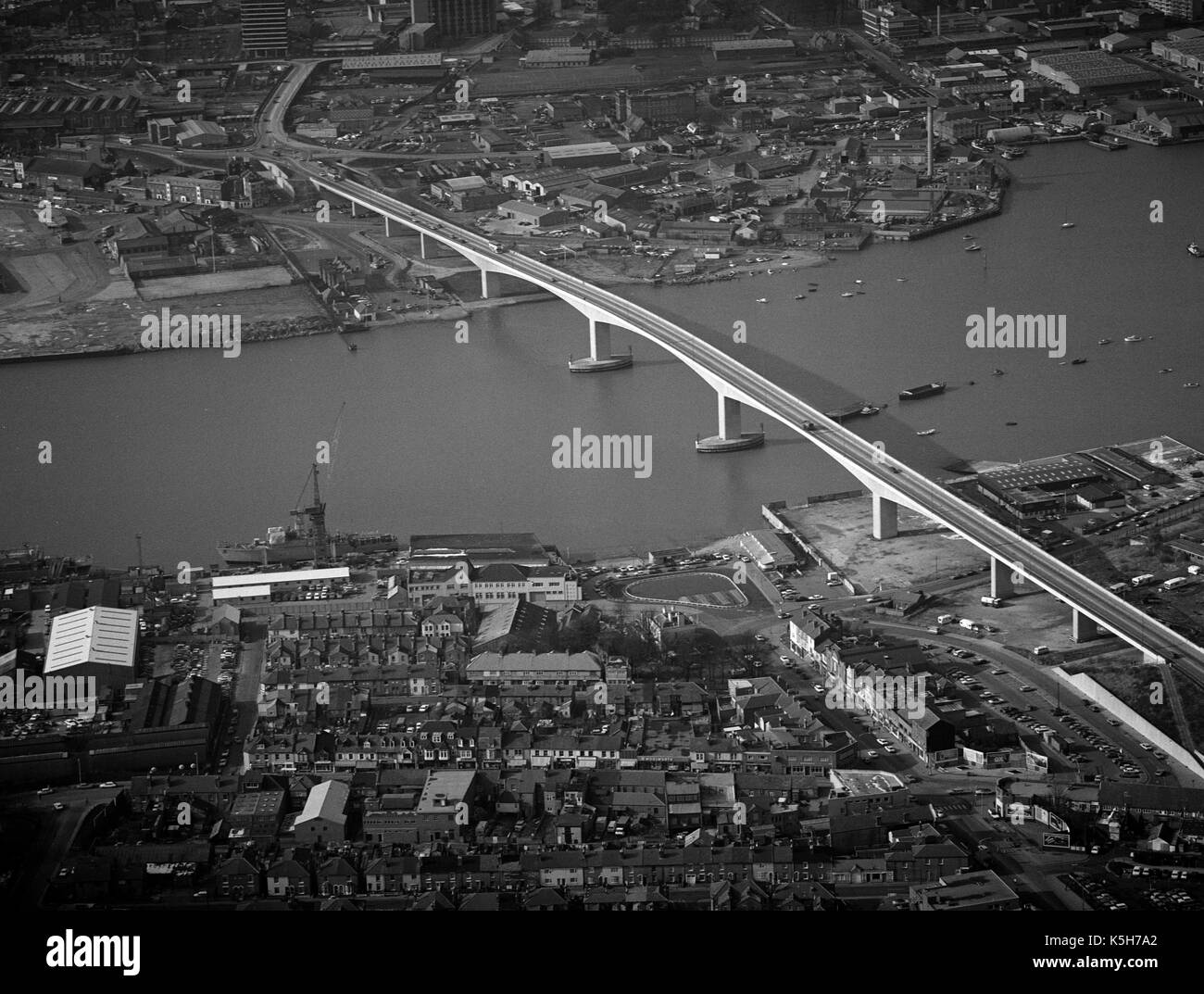 Aerial view of Itchen Bridge, Southampton, Hampshire, England, UK with the Woolston area of Southampton in the foreground. - Stock Image