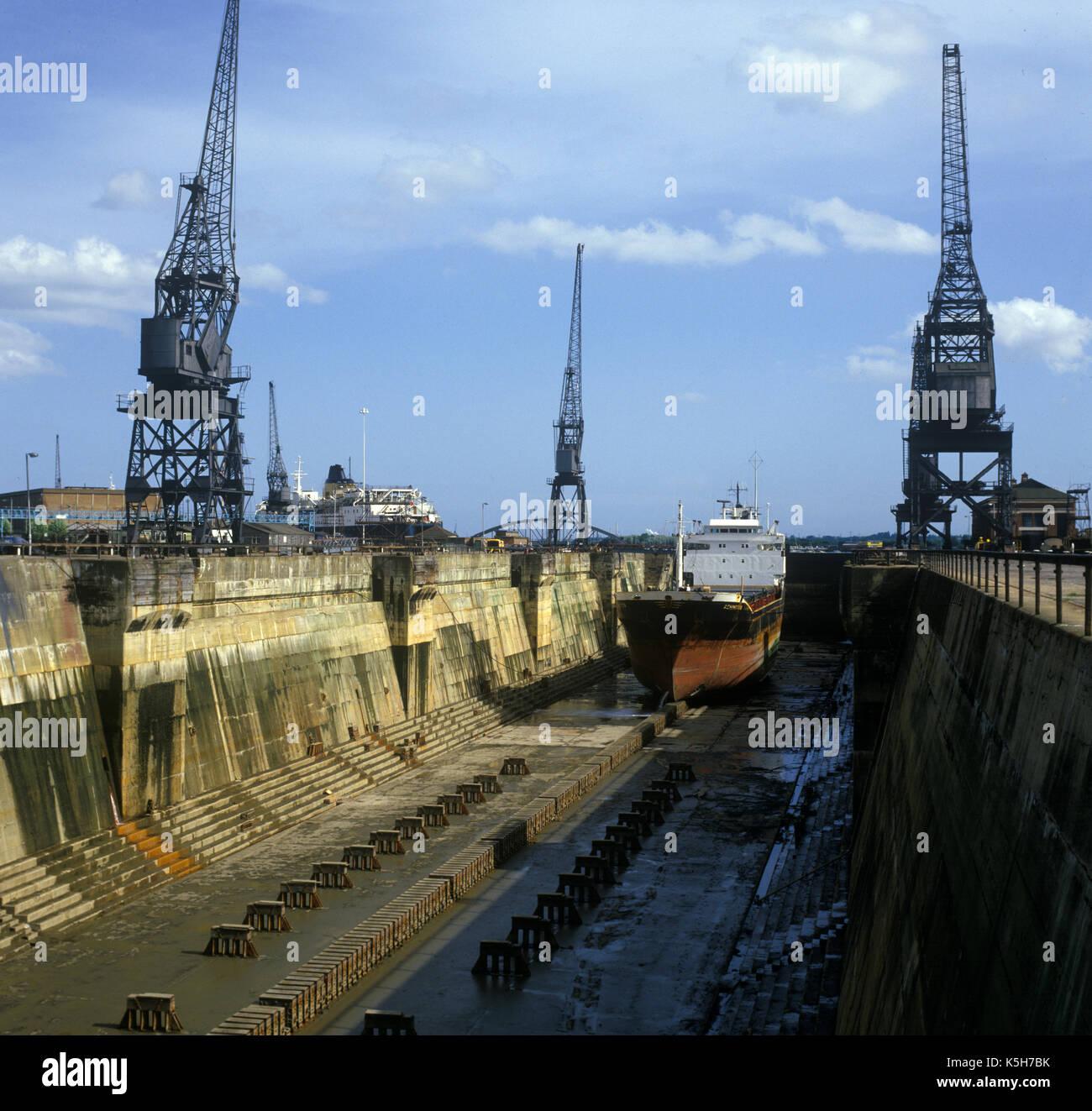 King George V graving dock (dry dock) Port of Southampton, Southampton Docks, Southampton, Hampshire, England, UK. - Stock Image