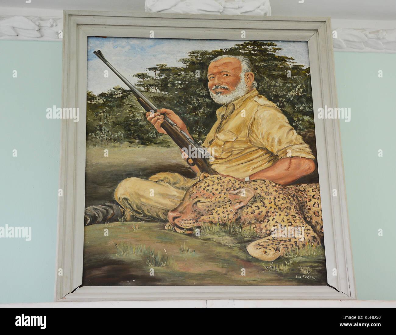 SAN FRANCISCO DE PAULA, CUBA - JULY 23, 2016: Ernest Hemingway portrait at Finca Vigia. Hemingway lived in the house Stock Photo
