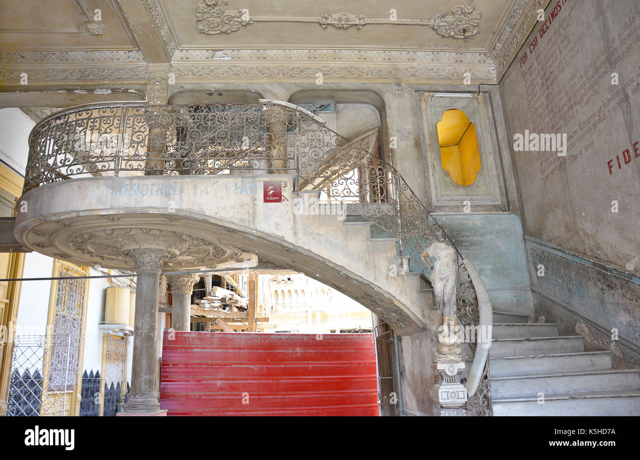 HAVANA, CUBA - JULY 23, 2016: Paladar La Guarida Restaurant staircase. The name La Guarida means means the Hideout. Teh restaurant is located on the t - Stock Image